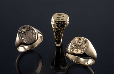 Hand Engraved Heraldic and Signet Rings by George Bentley - Fine Hand Engraver